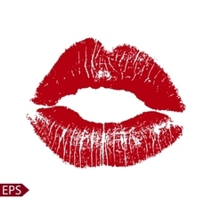 Print of red lips on a white vector