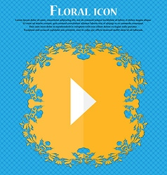 Play button floral flat design on a blue abstract vector
