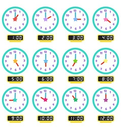 clock that show every hour vector image