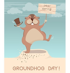 Groundhog day marmot cartoons vector