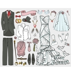 Wedding fashiondoodle bridegroom dressclothing vector