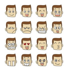 Men emotions faces vector
