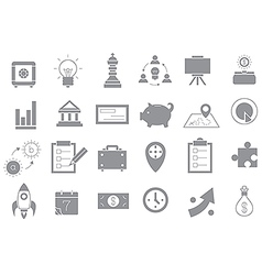 Business gray strategy icons set vector