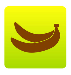 Banana simple sign brown icon at green vector