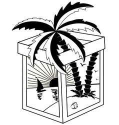 Black and white tropical landscape vector image vector image