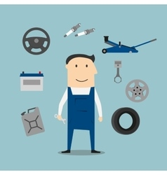 Car mechanic profession and equipment icons vector image vector image