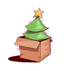Christmas tree in a box vector