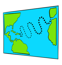 Christopher columbus first voyage map icon vector