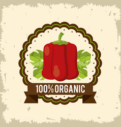 Colorful logo of organic food with peppers vector