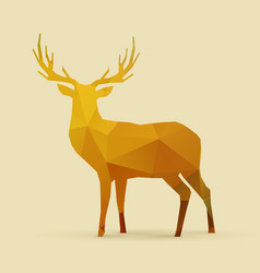 Deer polygon golden silhouette vector