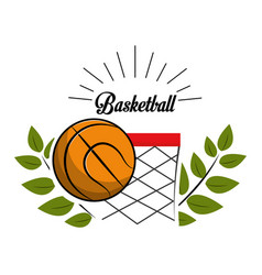 Emblem basketball game icon vector