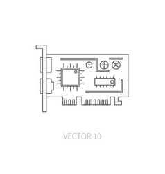 Flat line computer part icon - video card vector