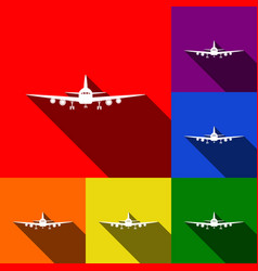 Flying plane sign front view set of vector