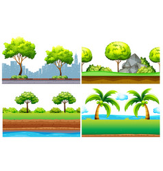 Four seamless background design with green trees vector