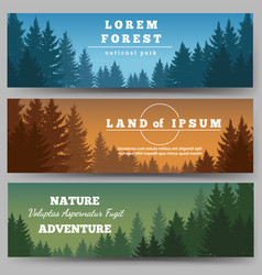 Green pines forest banners vector