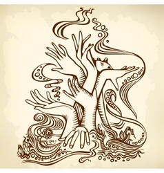 hand tree brown vector image vector image