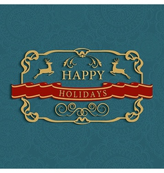 Happy holidays text greeting card vector image