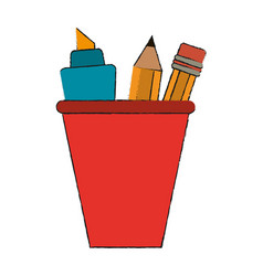 marker and pencil in cup vector image vector image