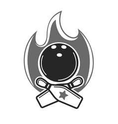 monochrome bowling emblem with fire and game vector image