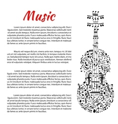 Musical poster with violin shape and notes vector image vector image