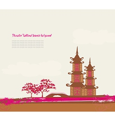 old paper with Chinese temple on abstract Asian vector image vector image