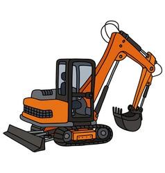 Orange small excavator vector