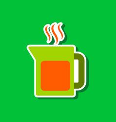 paper sticker on stylish background coffee maker vector image