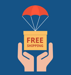 Parcel with parachute for shipping in hand vector