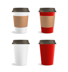 Red and white paper coffee cup set vector