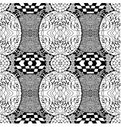 Seamless tile with a black and white pattern vector