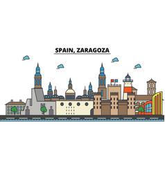 spain zaragoza city skyline architecture vector image vector image