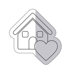 Sticker monochrome contour house with icon heart vector