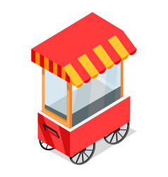street cart store on wheels isometric icon vector image vector image