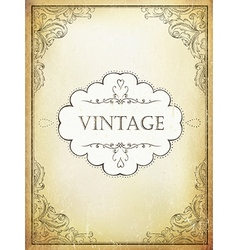 Vintage label with ornamental frame on aged bveige vector image