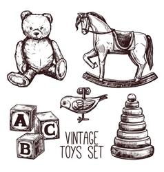 Vintage toys set vector