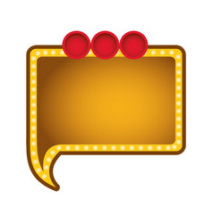 yellow rectangle chat bubble with circles icon vector image vector image