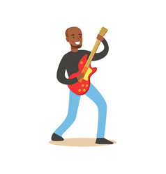 Young black guitarist playing on electric guitar vector