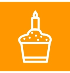 Candle on muffin vector