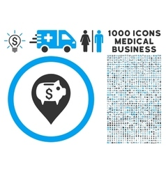 Bank pointer icon with 1000 medical business vector