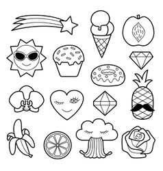 Fashion patches set vector