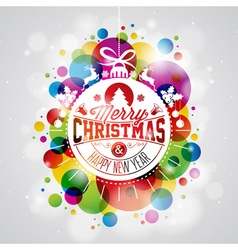 Merry christmas holiday with abstract glass ball vector