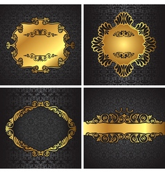 Royal gold picture frame on the dark wallpaper vector