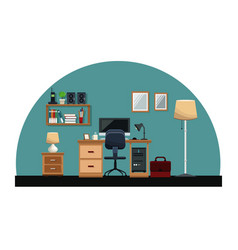 workplace desk chair computer mirror cabinet book vector image