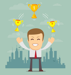 Man celebrates victory with gold trophy goblet vector