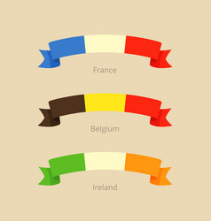 Ribbon with flag of france belgium and ireland vector
