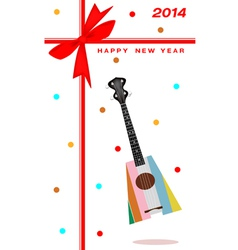 2014 New Year Gift Card of An Ukulele Guitar vector image