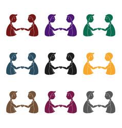 Handshaking of businessmen icon in black style vector