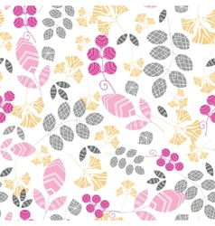Abstract pink yellow and gray leaves seamless vector
