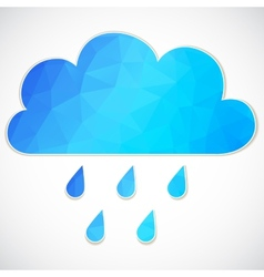 Blue cloud with rain drop of triangles vector