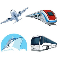 Transportation model airplane cruise ship train vector